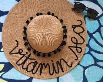 Vitamin Sea Floppy Hat | Floppy Sun Hat | Saying Summer Hat| Sequin Floppy Hat | Floppy Hat