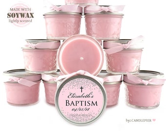 30 ct pink and silver confetti Baptism favors, 4 oz personalized soy candles favors, baby girl christening favors, dedication candle favors