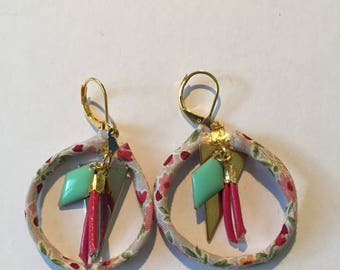 Liberty pink and green turquoise earrings