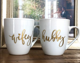 Wifey and Hubby Mug Set - Engagement - Wedding - Bridal Shower Gift - Coffee Gift for the Couple
