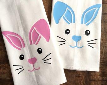 Bunny Face Easter Kitchen Towel - Happy Easter - Holiday Decoration Floppy Ear Bunny Rabbit - Decor - Tea Towel - Flour Sack - Blue or Pink