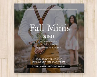 Photography Fall Mini Sessions Template - Autumn Booking Ad, Fall Minis Template, Social Media Post, Photoshop Template *INSTANT DOWNLOAD*