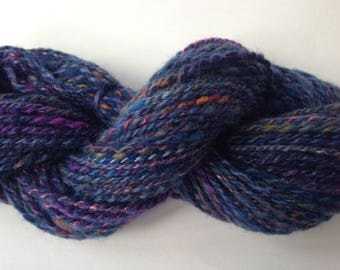 Handspun Yarn - Romney and Merino Wool, Silk - Worsted Weight 2-ply