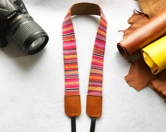 NuovoDesign pinkish Bohemian style padded camera strap for DSLR and mirrorless