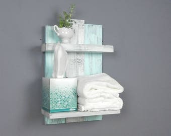 handcrafted wooden bathroom shelf u2013 rustic bathroom wall decoru20132 tier shabby chic wall shelves