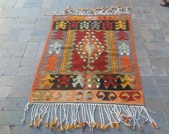Small Kilim,Anatolia Rug,Turkish Rug,Area Rug,Vintage Rug,Red Color Kilim,Blue Color Kilim,Ottaman Rug,Geometric Design Rug,Rug,Rugs,Kilim