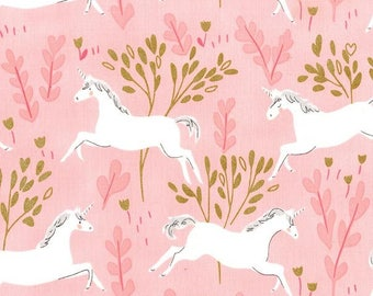 Unicorn Fabric - Michael Miller Fabric - Unicorn Forest Blossom - Metallic Fabric - Magic Sarah Jane - 100% cotton woven White Horse Fabric
