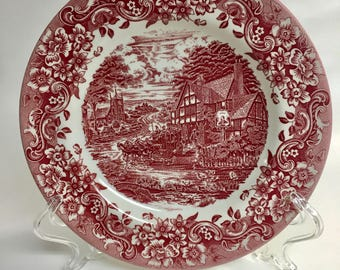 Staffordshire Engravings 17th Century 8 Inch Plates Set of 3 | Pattern ST117CR | Vintage Salad Plate | Red White Plate | Dessert Plate