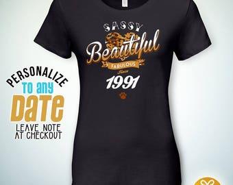 Sassy Beautiful Fabulous since 1991, 27th birthday gifts for Men, 27th birthday gift, 27th birthday tshirt, gift for 27th Birthday ,