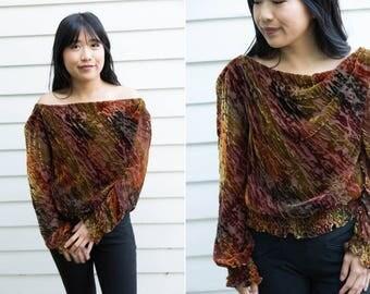 Velvet Sheer Rust and Marigold Long Sleeve Blouse // Ruched Elastic Sleeves & Waistband