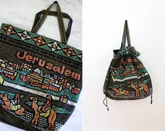 Beaded Jerusalem Tote Bag with Drawstring Handles