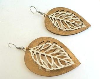 Leaves Silver Gold Hook Earrings, Dangle Earrings, Bohemian, Two tone Leaf Jewelry, Boho jewelry, Spring earrings, Gift for her