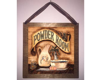 8x8 Powder Room Bath Home Decor Bathroom Sign with Choice of Black Wire or Brown Ribbon for Easy Hanging