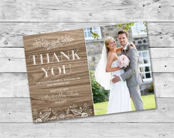 Print at Home Wedding Thank You Card Template / Digital Download File Wooden - Design ID: 21-50A
