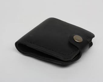 black leather wallet / men's leather wallet / leather purse