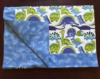 Baby blanket - blue and green dinosaurs