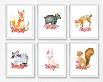 Woodland Nursery Art, Floral Animals Nursery Prints, INSTANT DOWNLOAD, Owl fox raccoon bunny bear deer squirrel Watercolor Floral