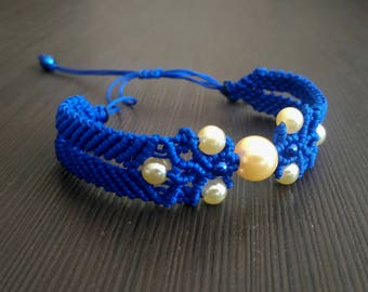 Macrame Bracelet Blue White Beaded Made in Russia Free shipping