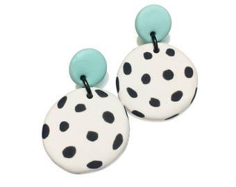 Dangle Janes // Polymer clay dangle earrings // Drop stud earrings // Mint + White with Black Spot // Statement earrings