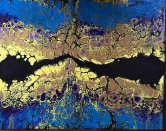 Acrylic fluid paint using swipe method.  Black, gold, yellow, purple, and aqua blue.
