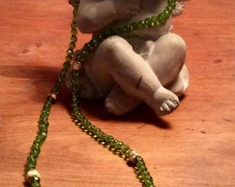 Pale green Crystal beads long necklace