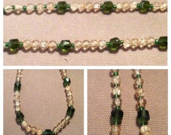 Honey glass and Emerald beaded necklace