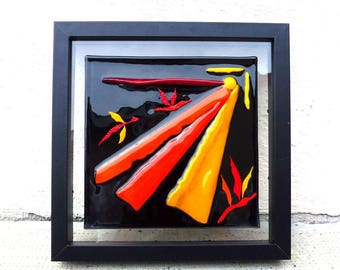 Picture in black, orange and Red fusing is named flight