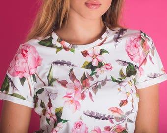 T-shirt Peonies/ Flowers T-shirt/ White Tee