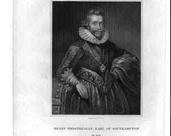 Henry Wriothesley, Earl of Southampton Antique Engraving c. 1825