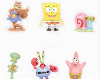 Spongebob cake topper 6 piece figures Spongebob birthday party favors sponge bob cake toppers US seller FAST SHIPPING Spongbob party favors