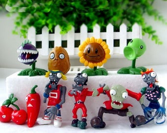 Plants vs Zombies topper birthday party action figures video game toy Plants vs. Zombies cake topper party favors actin figures plastic toy