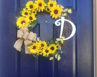 Hello Sunshine Sunflower Wreath