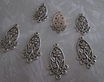 2 support pattern silver chandelier Flower Earrings