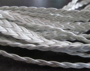 faux 5 mm white flat braided leather cord