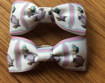 Jemima puddleduck hair bow clips- sold individually