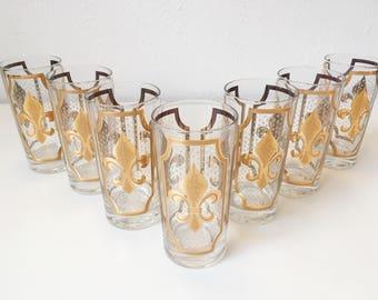 Vintage Mid Century Modern Signed Fred Press Fleur-de-lis Gold Highball Glasses + Set of 7 + Retro Hollywood Regency Barware Cocktail + MCM