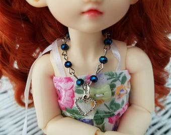 OOAK ball jointed doll yosd monster high doll one sixth doll metallic blue beaded necklace with heart charm