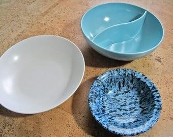 3 Piece Melmac Set of Snack Bowls | 1950's Mid-Century Melamine | Blue White Melamine | Restraware | Royalon | Marcrest | Made in Chicago