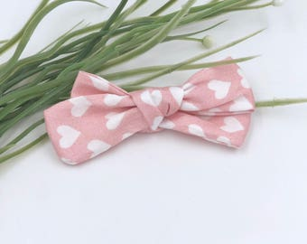 Baby Girl hand tied Bow - Nylon Headbands - Hair clip - Infant / Toddler /  Fabric Hair Bows / Clips - hearts on pink
