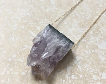 Raw Tranquility Diffuser Necklace - Raw Crystal Amethyst Geode + Lava + Gold *Limited Edition*