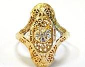 10K Filigree Ring with Di...