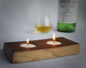 Two Candle Tealight Holder Made from the Stave of a Whisky Barrel