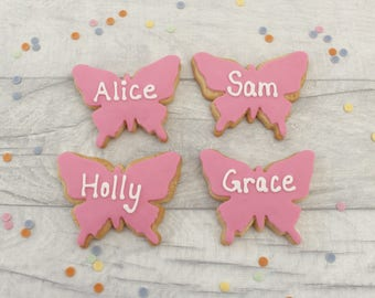 Personalised butterfly cookie favours, butterfly biscuits, name biscuits, edible place name cookie, personalised party favours, biscuit gift