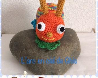 Crochet blanket is handmade the Turbot Ghis Rainbow snail,