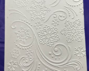 "Snow blowing in wind embossed on ivory 4"" x 5.5 card.  Set of 5"