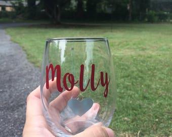 Bridesmaid Gift/Bachelorette Party/Bridal Party Gift/Custom Wine Glasses/Bridesmaid Wine Glass/Wedding Wine Glasses
