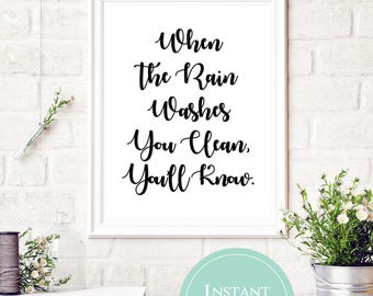 When the Rain Washes You Clean, You'll Know | Fleetwood Mac Lyrics | Song Lyric Printable | Dreams Lyrics | Fleetwood Mac Dreams