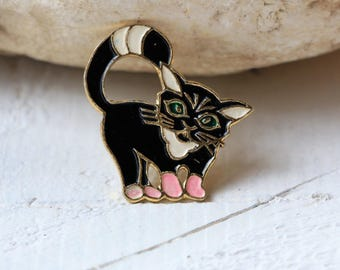 Cat pin Animal pin Black white pin Pink Pin Cute pin Soviet pin Enamel pin Gift for daughter Black cat lover gift for wife White cat pin