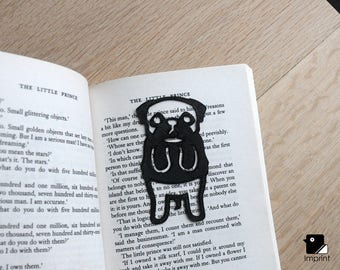 Pug Bookmark - 3D Printed in Black Plastic