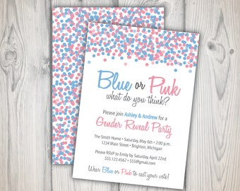 Gender Reveal Invitation, Baby Gender Reveal   Blur or pink?   Gender Reveal Party Confetti Invitation Template